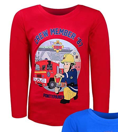 Feuerwehrmann Sam Langarmshirt Jungen Feuerwehrauto (Rot, 116)