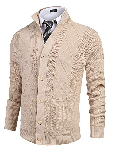COOFANDY Men's Knitted Cardigan Sweaters Stand Collar Button Down Sweater with Pockets Khaki
