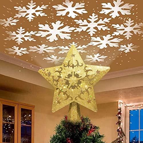 Nice Dream Weihnachtsbaumspitze Stern mit LED Projektion von Schneeflocke Lichteffekte, goldene Glitter Christbaumspitze Weihnachtsbaumdeko