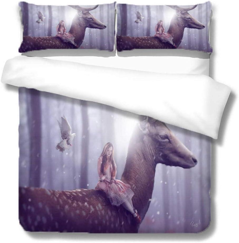 LYJJYA Superlatite Duvet Atlanta Mall Cover Twin Set Sika Deer Sets C Zipper Bedding Girl