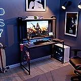 Bestier 47' Gaming Desk with Hutch/RGB LED Lights Gamer Teen Desk for Bedroom Adjustable Shelves Storage Hutch Headset Hook Cup Holder Sturdy Practical, Gray