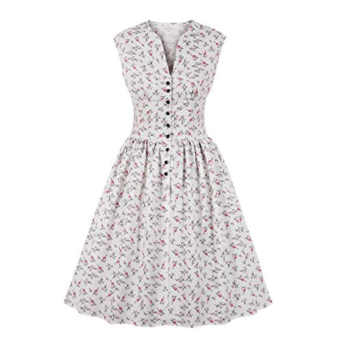 Wellwits Women's Split Neck Floral Button 1940s Day Vintage Tea Dress White M