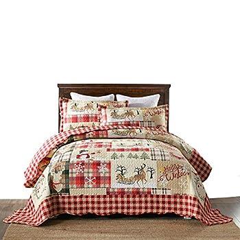 MarCielo 3 Piece Christmas Quilt Set Rustic Lodge Deer Quilt Bedspread Throw Blanket Lightweight Bedspread Coverlet Comforter Set BY010  Queen