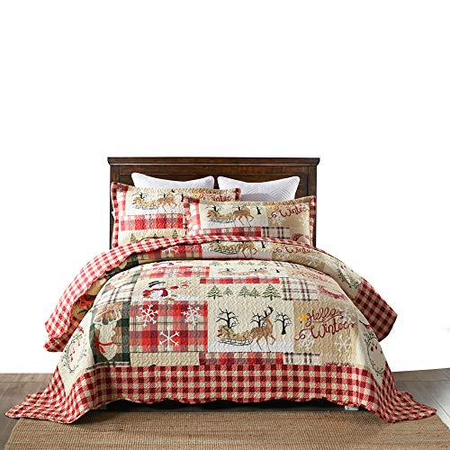 MarCielo 3 Piece Christmas Quilt Set, Rustic Lodge Deer Quilt Bedspread Throw Blanket Lightweight Bedspread Coverlet Comforter Set BY010 (Queen)