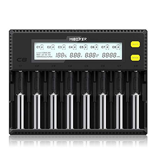 18650 Battery Charger,MiBOXER 8-Bay Smart Charger with Automatic LCD Display,Fast Charge Rechargeable Li-ion LiFePO4 Ni-MH Ni-Cd AA AAA C 21700 26650 13650 16340 18350 18700 RCR123