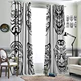 Insulated solid grommet top Thermal Insulated Blackout Curtains Japanese Nogaku Theatrical Masks Showing Emotions Expressions Culture Black and White Room Darkened Set of 2 Panels W120'x L107'