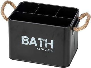 WENKO Boîte Gara avec 4 compartiments noir - Boîte de rangement, panier de salle de bain, Acier, 19 x 12.5 x 13 cm, Noir