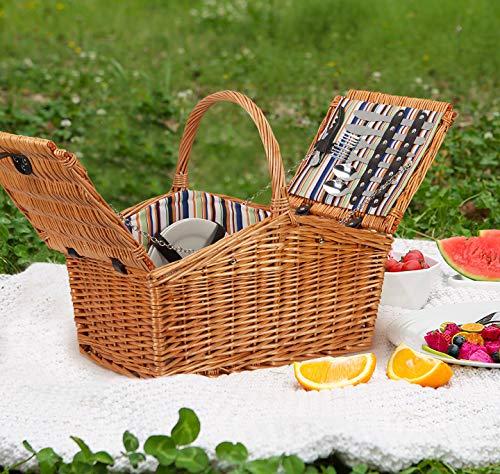Kacsoo Cesta de picnic de mimbre con vajilla (capacidad para 4 personas) y tapete de picnic, asa duradera y compartimento de aislamiento, apto para camping familiar y picnic al aire libre.