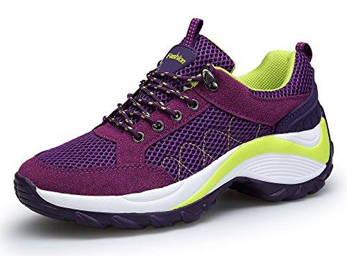KOUDYEN Atlético Zapatos Chicas Mesh Zapatillas De Deporte Fitness Plataforma Para Mujer,XZ006-Purple-EU35