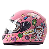 ZDD Kinderhelm Winter Windproof Warm Cartoon Junge Mädchen Full Face Helm (Farbe : Pink)