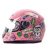 ZDD Casque Enfant Hiver Coupe Dessin Animé Fille Fille Casque Intégral (Couleur : Pink)