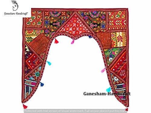 GANESHAM HANDICRAFT New Indian Hippie Bohemian Indian Decor Cotton Ethnic Wall Hanging Vintage Patchwork Door Volants Hand Embroidered Patchwork Toran
