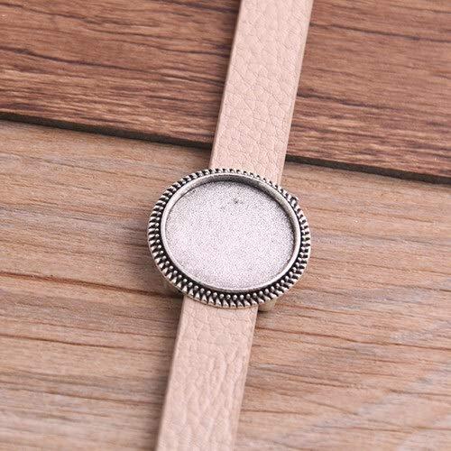 1pcs de la PU de los brazaletes de ajuste básico en blanco Manguito bandejas Brazel ajuste de 18 mm de cristal del camafeo de la bóveda pulsera DIY Cabochon la joyería que hace P6549 ( Color : Brown )