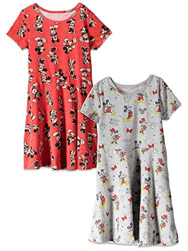 Disney Minnie Mouse Toddler Girls 2 Pack Short Sleeve Dress Red/Grey 4T