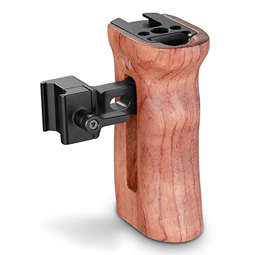 SmallRig 木製ハンドルグリップ ウッドグリップ 左右使用可能 カメラケージハンドル コールドシューマウント装備-2187