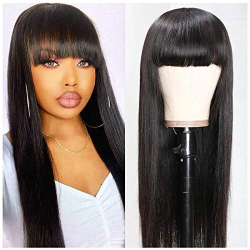 Beauty Forever Silk Straight Wigs With Bangs None Lace Human Hair Wigs for Black Women Brazilian Virgin Hair Full Machine Made Wig Breathable Net Cap Natural Color (24 inch)