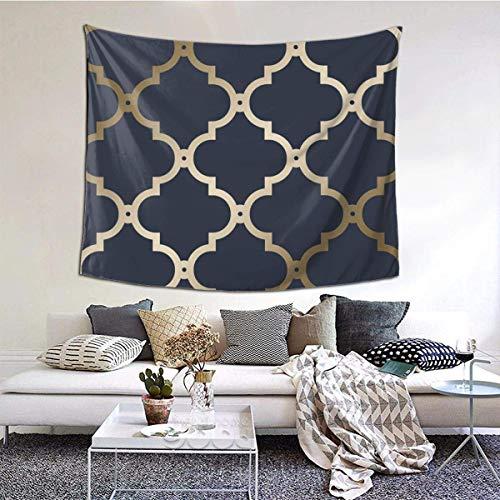 baowen Marruecos Enrejado Azul Marino Tapiz de Pared de Oro Colgante de Pared Manta de Pared Arte de la Pared Decoraciones Dormitorio Sala de Estar Dormitorio 60X51 Pulgadas