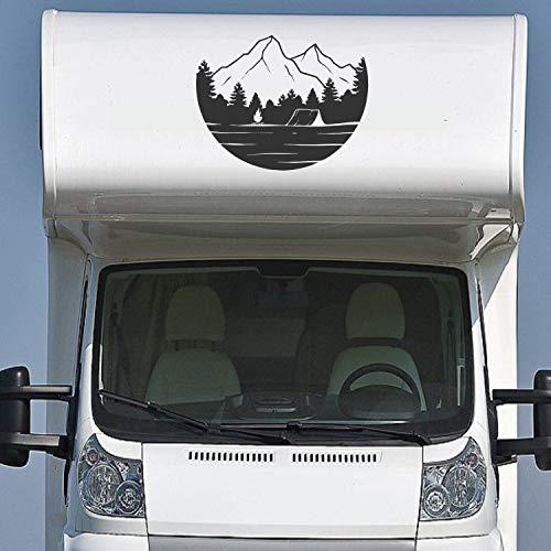 Pegatina Promotion Wohnmobil Wohnwagen Aufkleber Schöne Landschaft mit Bergen Typ1 ca 60cm hoch Bäume See Zelt Sticker Autoaufkleber