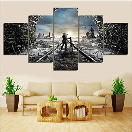 Lllyzz Canvas Schilderijen Hd Gedrukt Canvas Muur Artwork Hd 5 Stuks Schilderij Games Metro Posters Moderne Home Decoratie voor Woonkamer Framework Prints Op Canvas 150X80CM