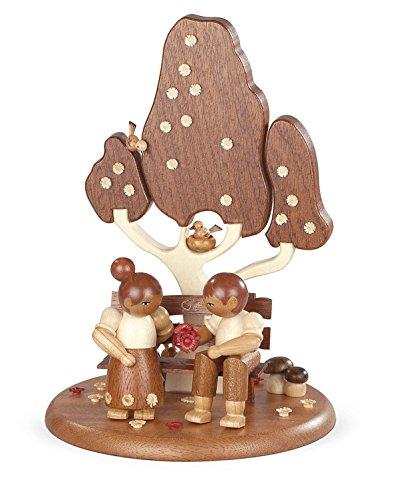 Speeldoos motief platform voor elektrische speeldozen liefdespaar op de tuinbank Ø: 15 cm NIEUW speeldoos sneeuw figuur zeep Ertsgebergte hout decoratie kerstmis speeldoos