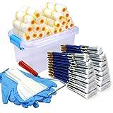 kingorigin gran nuevo 50piezas Kit de Pintura Brocha, rodillo de pintura, pintura, pinceles, caja de herramientas de almacenamiento caso