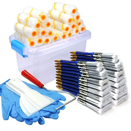 50 Piece Painters Multi use,Home Tool kit,Mini Paint Roller Covers,Paint Roller,Paint Brush,Paint Roller Frame,Home Repair Tools,Tool kit,Tool case,Home Tool kit,Tool Storage,Tool Box