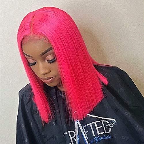 Pink 12 Inch Short Bob Synthetic Hair Wigs 150 Density Short Straight Hair Lace Frontal Wig For Black Women With Baby Hair Bleached Knots (12 Inch/lace frontal wig, Pink)
