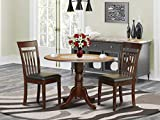 East West Furniture 3 PC Kitchen Nook Set-Drop Leaf Table and 2 Dining Chairs, Mahogany Finish