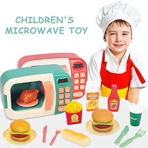 iYoung Kinderküche aus Holz | mit Backofen, Mikrowelle und Einstelltasten, Höhe Arbeitsplatte 23 cm, für 2 3 4 Jahre | Toy Kitchen, Educational Kitchen, Imitationsspiele, Rollenspiele