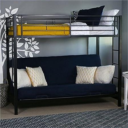 Amazon Com Home Accent Furnishings Sunrise Metal Twin Over Futon Bunk Bed In Black Furniture Decor
