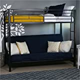 Sturdy Metal Twin-over-Futon Bunk Bed in Black Finish