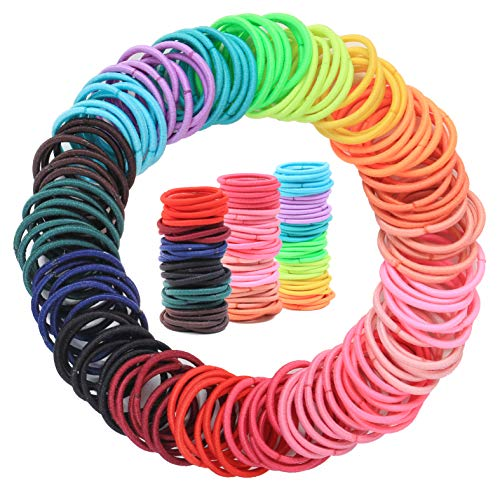 200PCS Baby Toddler Hair Ties, Multicolor Elastic Hair Ties, No Crease Hair Elastics Small Ponytail Holders Hair Ties for Kids Girls