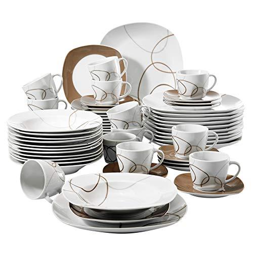 VEWEET Nikita 60pcs Service de Table Porcelaine 12pcs Assiette Plate, Assiette à Dessert, Assiette Creuse, Tasse avec Soucoupes pour 12 Personnes Vaisselles Céramique