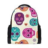 Colorido cráneo lindo patrón portátil mochila escuela mochila casual viaje
