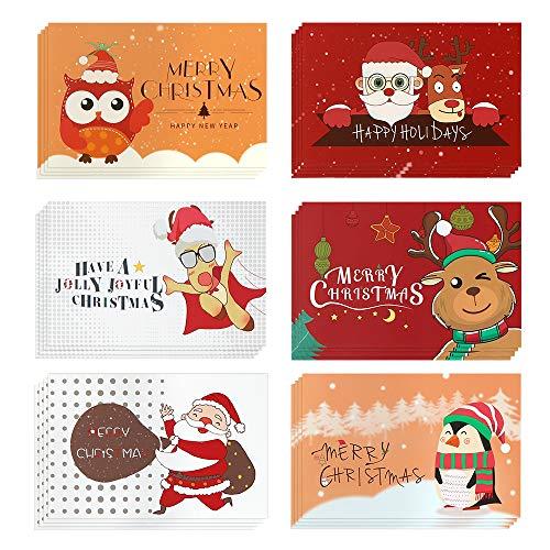 Navidad Tarjeta de Felicitación,Navidad Conjunto,24 Piezas Tarjetas de Navidad&24 Pegatinas Sobres Navideñas&24sobres,Tarjeta de Felicitación de Página en Blanco para Saludos Familiares.