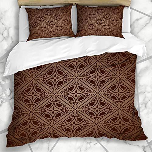HARXISE Bettwäsche - Bettwäscheset Organische Brown-Muster-byzantinische französische alte Damast-Blumenzusammenfassung Mikrofaser weich dreiteilig Mit 2 Kissenbezügen 200 * 200