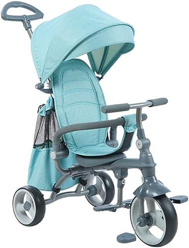 GIFT Trike des Baby-Cart-Kindes - Justierbarer Sto iff, Faltbar, Abnehmbare, Kohlenstoffstahlstruktur Mit Markise,Grün