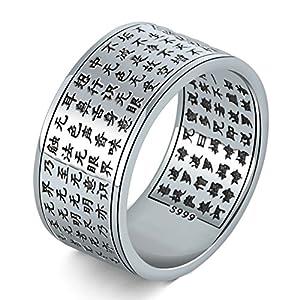 Blisfille Ring Herren Osmanisch Herren Verlobungsringe 925 Silber Buddhist Scriptures Bandringe
