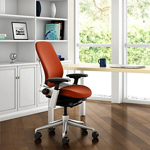 Steelcase Leap Desk Chair V2 with Headrest in Buzz2 Chocolate Fabric - 4-Way Highly Adjustable Arms - Black Frame and Base - Soft Dual Wheel Hard Floor Casters