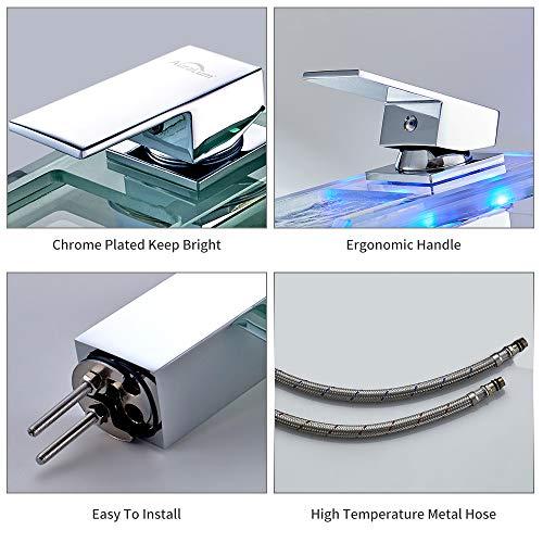 Auralum® Elegant LED RGB Glass Mischbatterie Armatur Wasserhahn Chrom Wasserfall Waschtisch Waschtischarmatur für Bad Badezimmer Küchen - 5