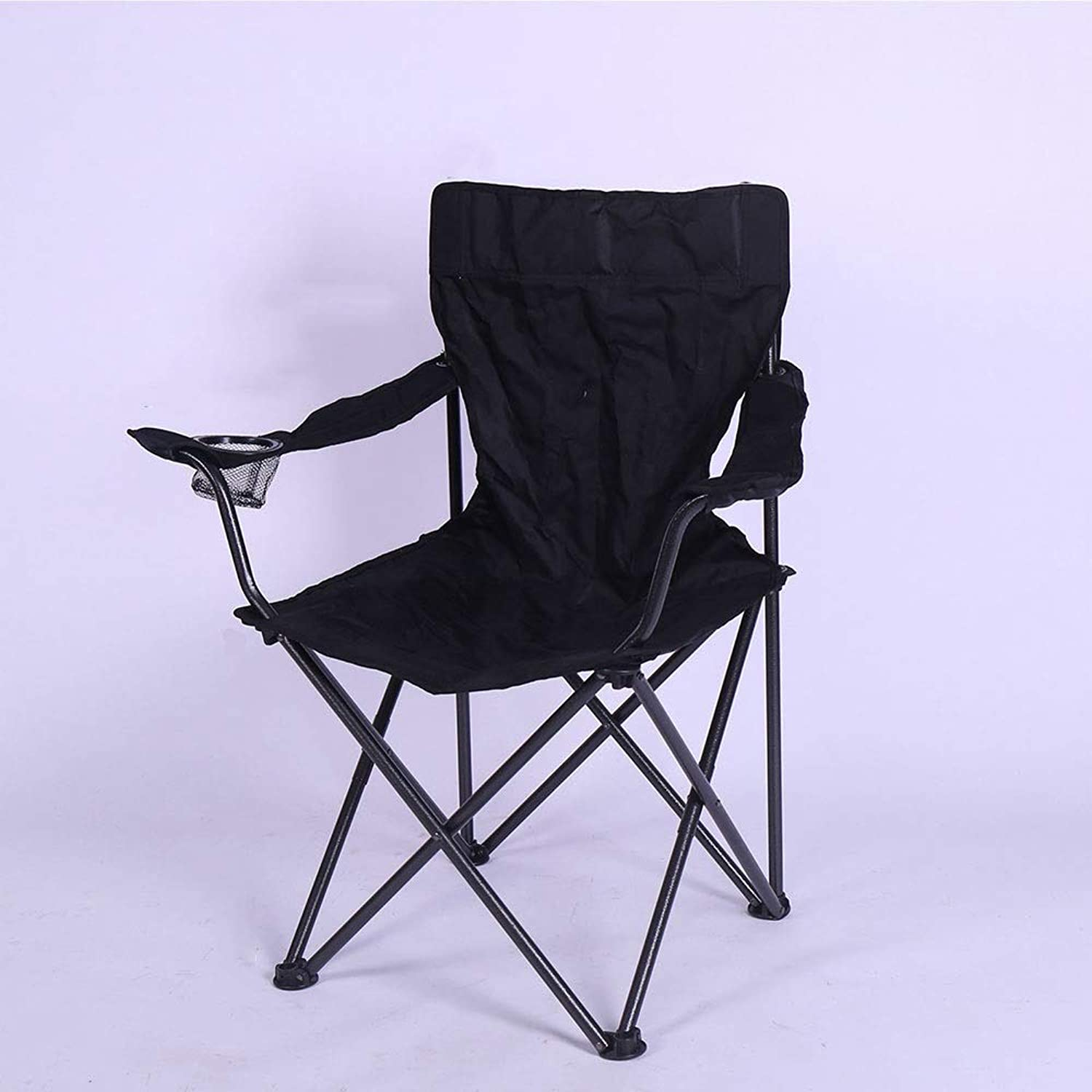 ZR Portable Camping Quad Chair Portable Folding Chair with Arm Rest Cup Holder and Carrying and Storage Bag (color   Black)