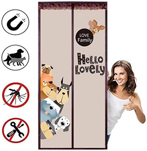 SUIYI Cartoon Welpenmuster Insektenvorhang Tür 100x220cm / 39x86inches Fenster Moskitonetz Magic klick Halten Sie Frische Luft Rein Und Insekten Raus,Ohne Bohren