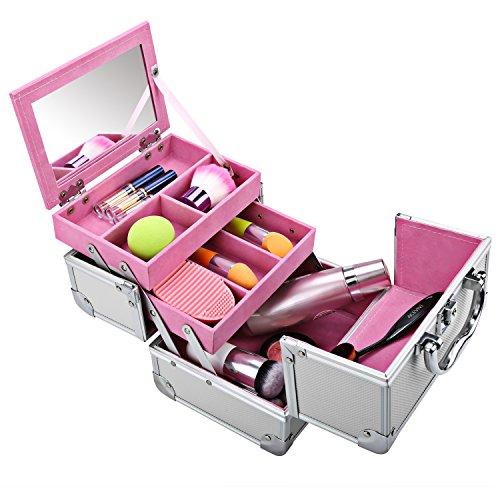 Buyi-World Valigetta Cosmetici Beauty Case Porta Trucchi Organizer Cosmetici Bellezza Cassetto Multiuso con Specchio Bagaglio a Mano per Meke Up 20 × 15.5 × 15.5cm (Argento-Rosa)
