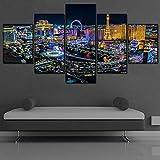 hgjfg Leinwanddrucke Leinwandbilder XXL 5 Teilig Las Vegas