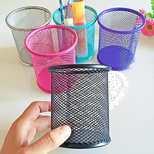 YiXing 1 soporte para bolígrafos de malla hueca para lápices, organizador de metal, soporte para bolígrafos, papelería, suministros de oficina, 5 colores (color: morado)