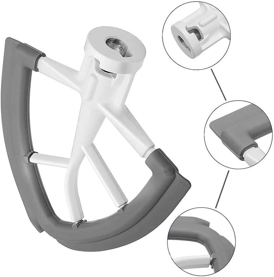 Lucare Flexible Silicone Practical Beater Parts for KitchenAid Tilt-Head Stand Mixer 4.5-5QT Mixer Accessories Grey+White