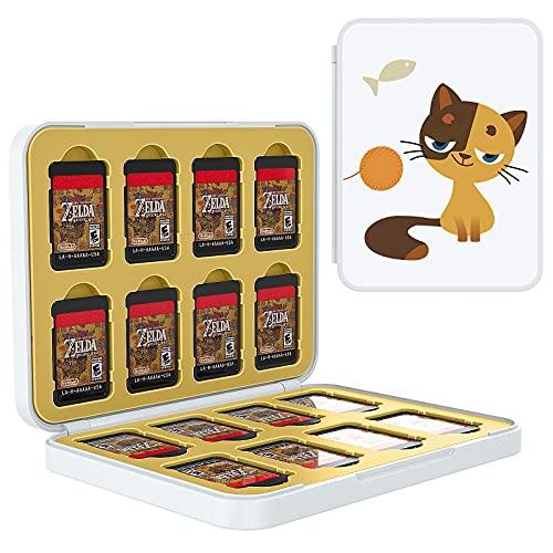 TiMOVO Speicherkarten Hülle Kompatibel mit Switch OLED Modell 2021/Switch, Aufbewahrung Tasche für 16 Spielkarten und 16 SD-Karten, Memory Card Organizer mit Mustern - Sitzen Katze und Gelb