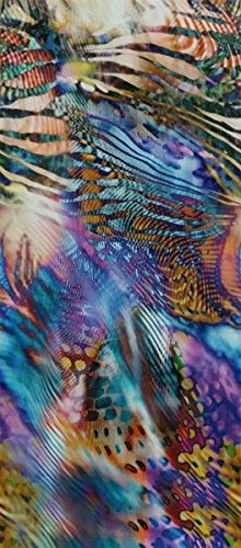 "100% PURE SILK CHARMEUSE RAINBOW DIGITAL PRINT FABRIC 56"" DRESS BY THE YARD"