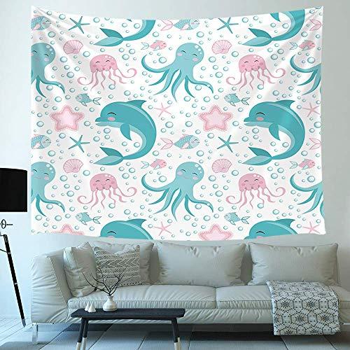 Tapiz decorativo de animales marinos de dibujos animados, pulpo, delfín, medusa, vida marina, arte infantil, colgante de pared para dormitorio, sala de estar, dormitorio universitario, TV, telón de fo