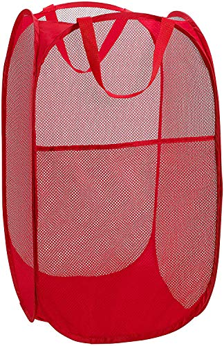 AQwzh Mesh pop-up Laundry Basket, Open and fold, Easy to Store, Very Suitable for Children's Room, University Dormitory or Travel, Red